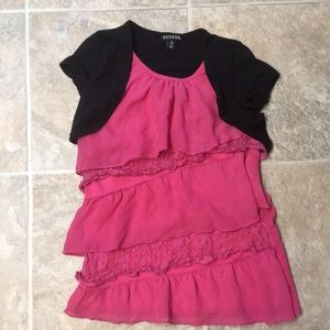 Floral lace flowing pink shirt